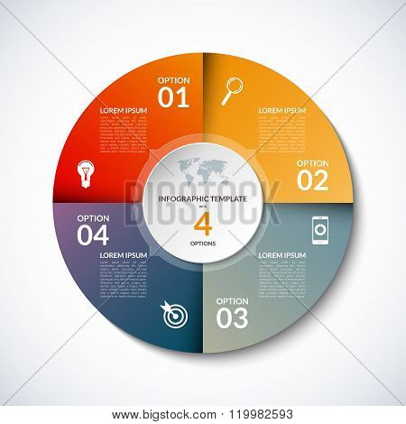 Vector infographic circle template with 4 steps, parts, options