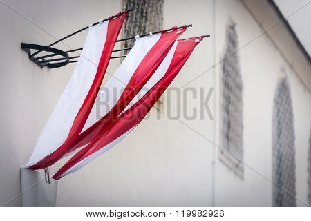 Flag On Wall Of Building In Vienna, Austria.
