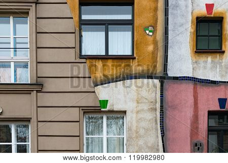 Hundertwasser House In Vienna, Austria, Europe