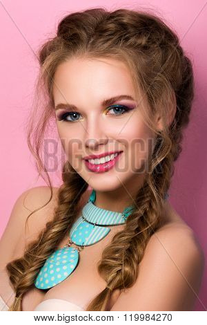 Portrait Of Smiling Young Beautiful Woman With Bright Summer Make-up