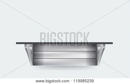Front view of regular wooden shelf copy space isolated vector