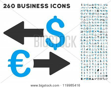 Euro Dollar Transactions Icon with Flat Vector Set