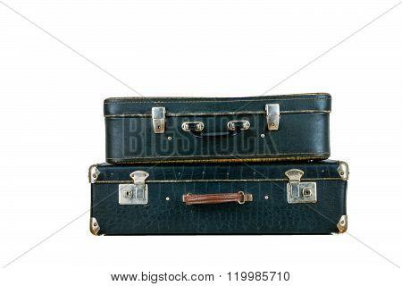 Set of old suitcases. Brown and black retro suitcase. Vintage baggage. Vintage travel bags.