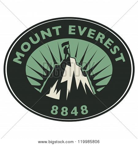 Stamp Or Emblem With Text Mount Everest