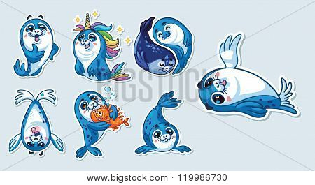Baby Seal Sticker Collection Set