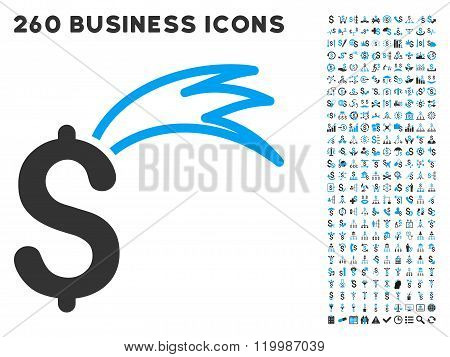 Fortune Falling Dollar Icon with Flat Vector Set