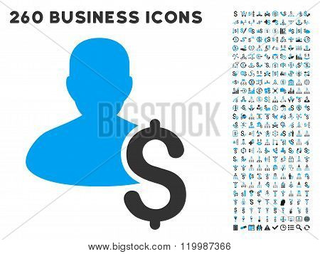 Loan Person Icon with Flat Vector Set