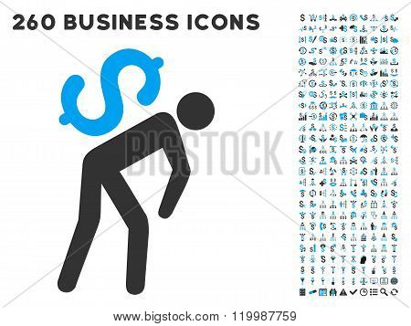 Money Courier Icon with Flat Vector Set