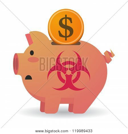 Isolated Piggy Bank With A Biohazard Sign