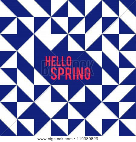 Rhombus And Square Shape For Hello Spring.