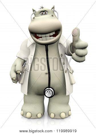Cartoon Hippo Doctor Doing A Thumbs Up.