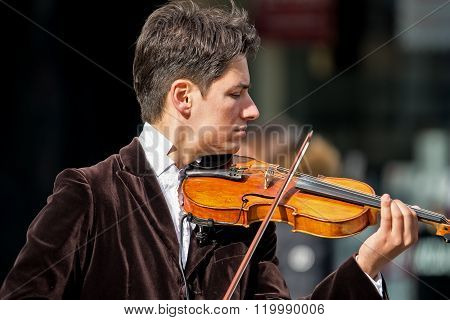 Violinist Playing In The Street 2