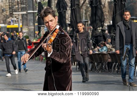 Violinist Playing In The Street