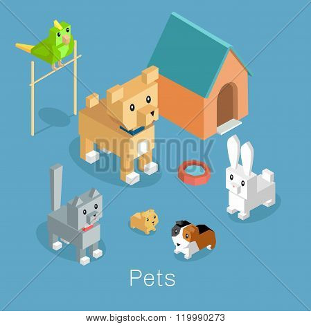 Pets Set Icon Isometric 3d Design