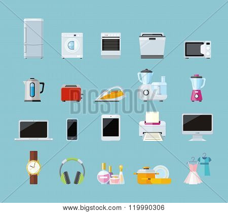 Set of Household Appliances Design Flat