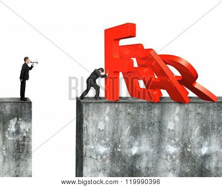 Man Stopping Fear Word Domino Falling With Another Shouting