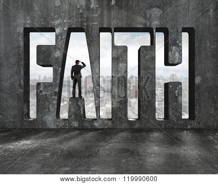Faith Word On Concrete Wall With Man Gazing On View