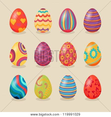 Set of Easter Eggs Design Flat