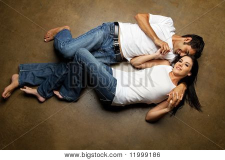 Happy ethnic couple dating