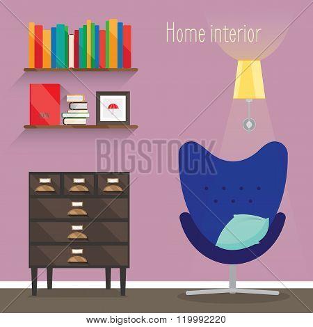 The Flat Illustration Interior
