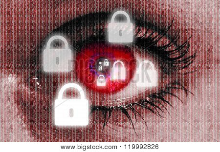 Padlock Eye Looks At Viewer Concept