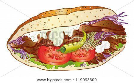 Kebab, salad