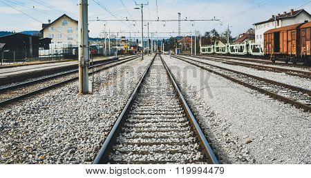 Railroad Station And Railroad Tracks