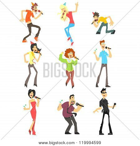 People Singing Karaoke, Vector Illustration Set