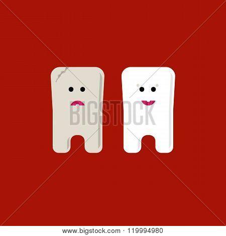 Teeth flat icons