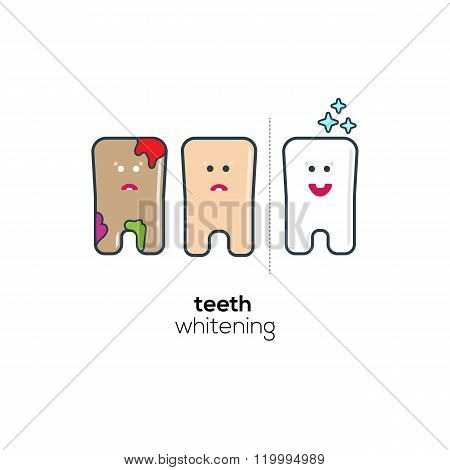 Teeth whitening progress flat icons