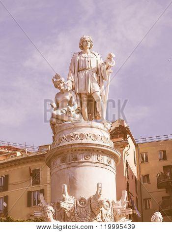 Columbus Monument In Genoa Vintage