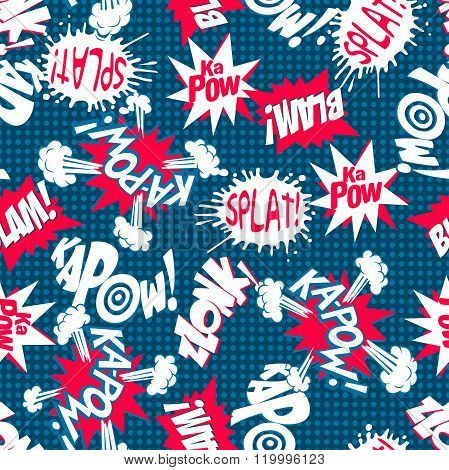 Comic Action Words Seamless Pattern