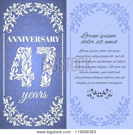 Luxury Template With Floral Frame And A Decorative Pattern For The 47 Years Anniversary. There Is A