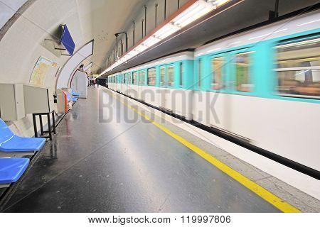 Paris, France metro train in Paris, France. Metro is very popular transport in Paris