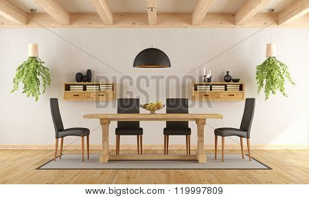 White Dining Room With Rustic Table