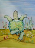 stock photo of mental_health  - an amusing original painting of a turtle in position as two onlooking beetles enjoy his antics - JPG