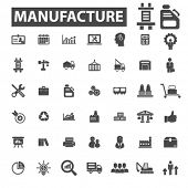 Постер, плакат: manufacture icons manufacture logo industry icons vector industry flat illustration concept indu