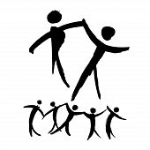Постер, плакат: Dancing People Hand Drawn Illustration