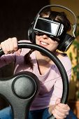 Постер, плакат: Woman With A Driving Simulator