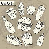 Постер, плакат: Hand Drawn Fast Food Doodle Sticker Set