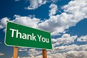 stock photo of appreciation  - Thank You Green Road Sign with Copy Room Over The Dramatic Clouds and Sky - JPG