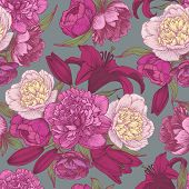 ������, ������: Vector floral seamless pattern with hand drawn pink and white peonies red lilies