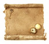 image of treasure map  - Handmade paper scroll with key and a compass - JPG