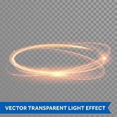 Vector light gold circle. Glowing fire ring trace. Glitter magic sparkle swirl trail effect on trans poster