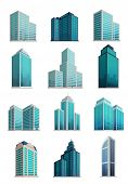 Постер, плакат: Set Icons Skyscrapers Buildings