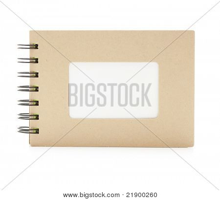 Small note book with frame like blank title section. isolated on white.