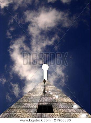 Man before keyhole