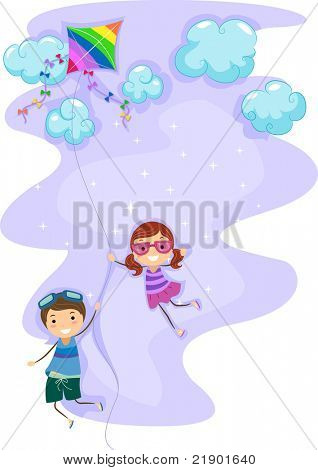 Illustration of Kids Hanging Unto a Kite