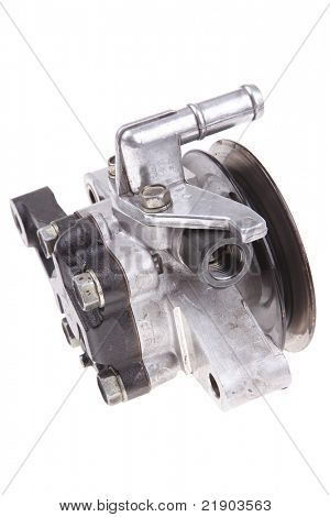 real used car water pump isolated over white background