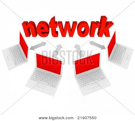 Several laptops connected with arrows to the word Network, representing a social network on the Internet